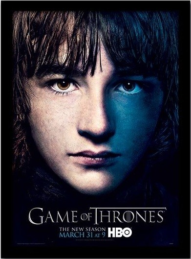 GAME OF THRONES 3 - bran Poster emoldurado de vidro