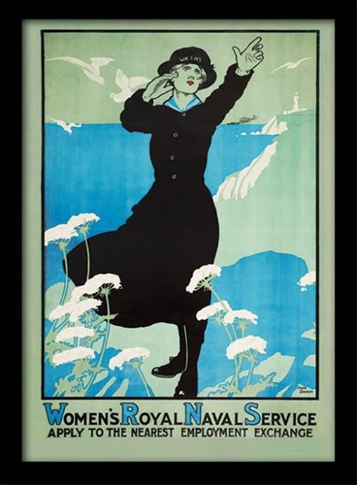 IWM - Womens Royal Navy Poster emoldurado de vidro