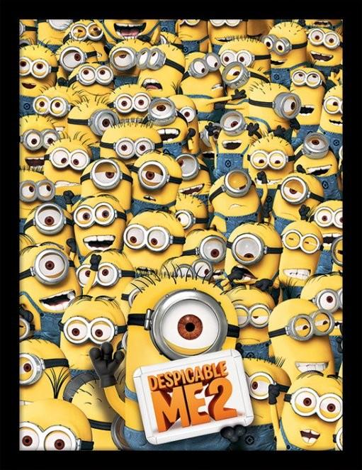 Minions (Despicable Me) - Many minions Poster emoldurado de vidro