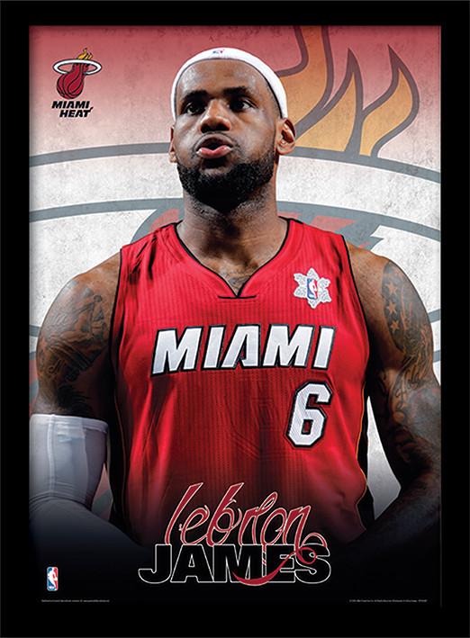 NBA - Lebron James Poster emoldurado de vidro