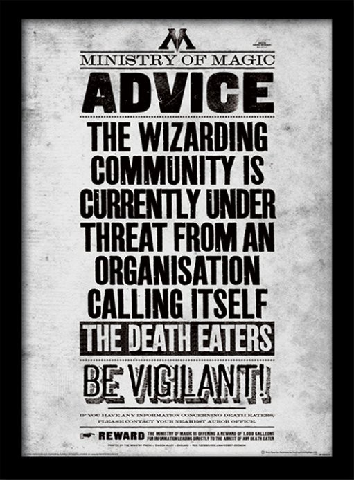 Poster emoldurado de vidroHarry Potter - Be Vigilant