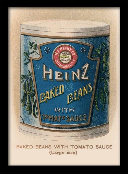 Poster emoldurado de vidroHeinz - Vintage Beans Can