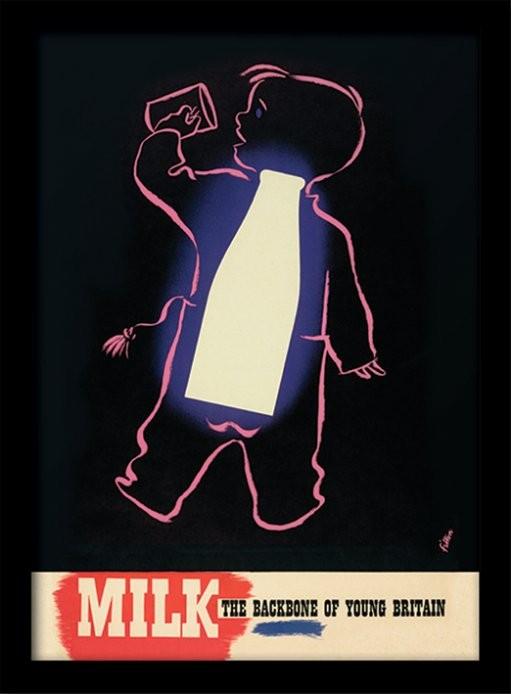 Poster emoldurado de vidroIWM - Milk
