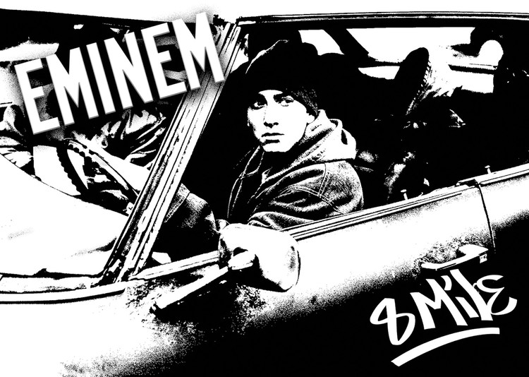 8 MILE - Eminem car b&w Poster, Art Print
