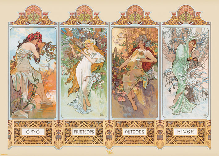 alfons mucha four seasons poster sold at europosters. Black Bedroom Furniture Sets. Home Design Ideas