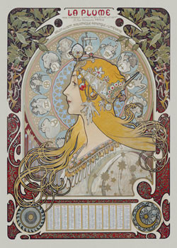 Alfons Mucha - la plume Poster, Art Print