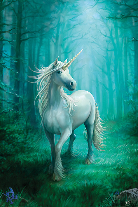 Poster Anne Stokes - Forest Unicorn