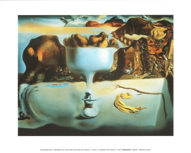 Apparition of Face and Fruit Dish on a Beach, 1938 Art Print