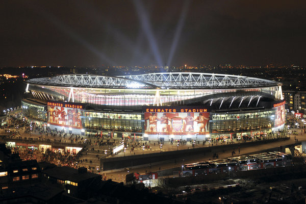 Arsenal - emirates stadium night Poster