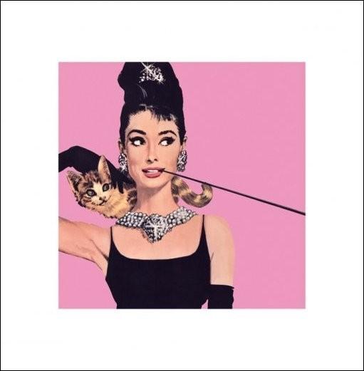 Audrey Hepburn - Pink Art Print