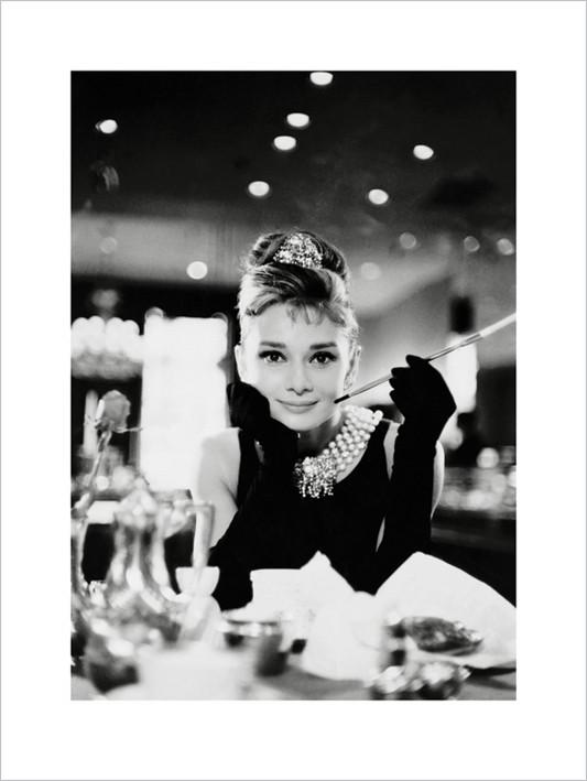 Audrey Hepburn - Tiffany b&w  Art Print