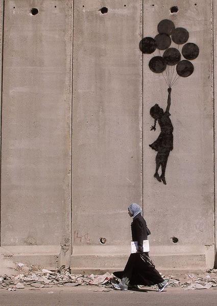 Pôster Banksy street art - Graffiti Westbank Balloons