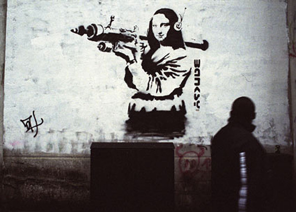 banksy street art mona lisa art attack poster sold at europosters. Black Bedroom Furniture Sets. Home Design Ideas