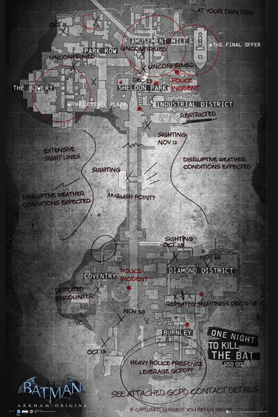 Batman Origins Gaming Map Poster