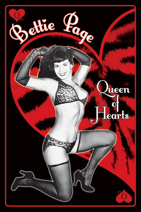 Pôster Bettie Page - queen of hearts