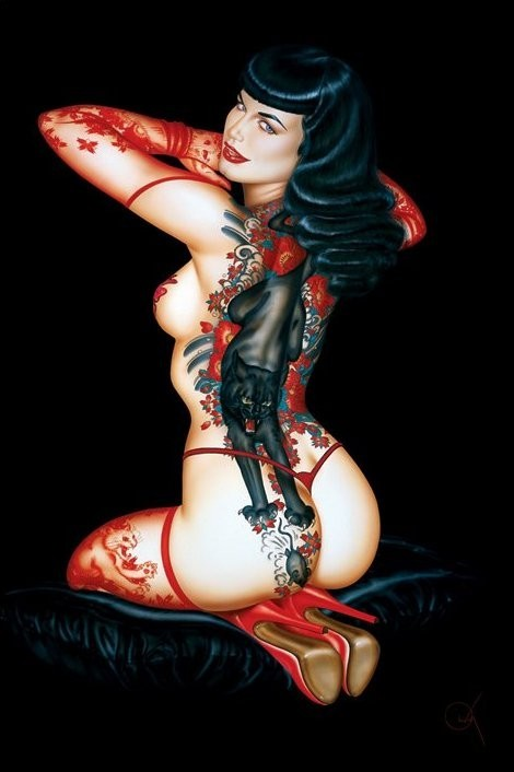 Bettie Page - tattoo Poster