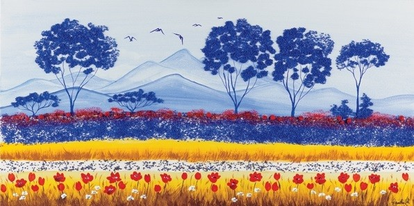 Blue Meadow of Poppies Art Print
