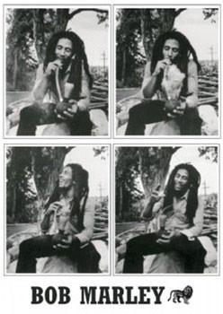 Bob Marley - 4 b&w.ikony Poster, Art Print