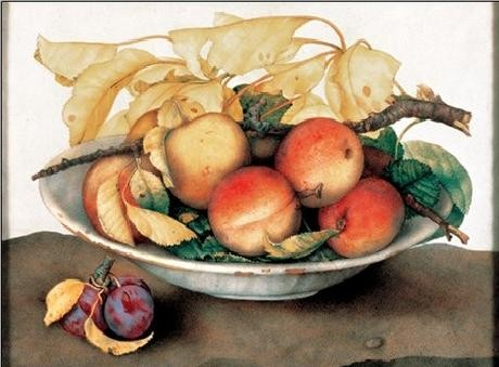 Bowl with Peaches and Plums Art Print