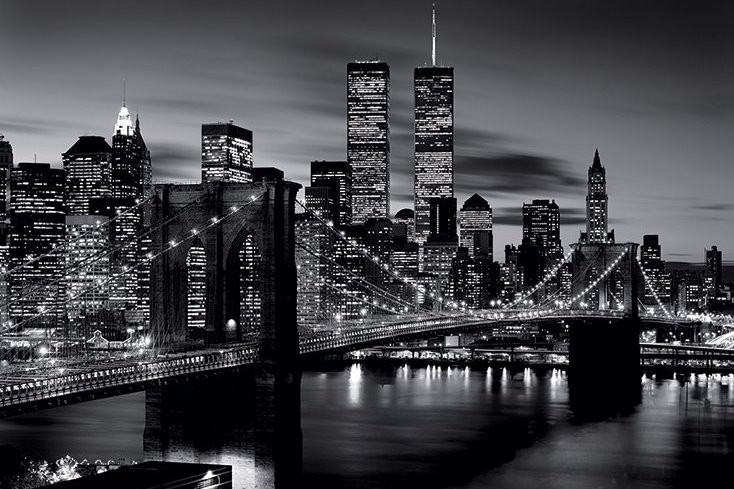 brooklyn bridge b w poster sold at europosters. Black Bedroom Furniture Sets. Home Design Ideas