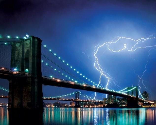 Poster Brooklyn bridge - lighting