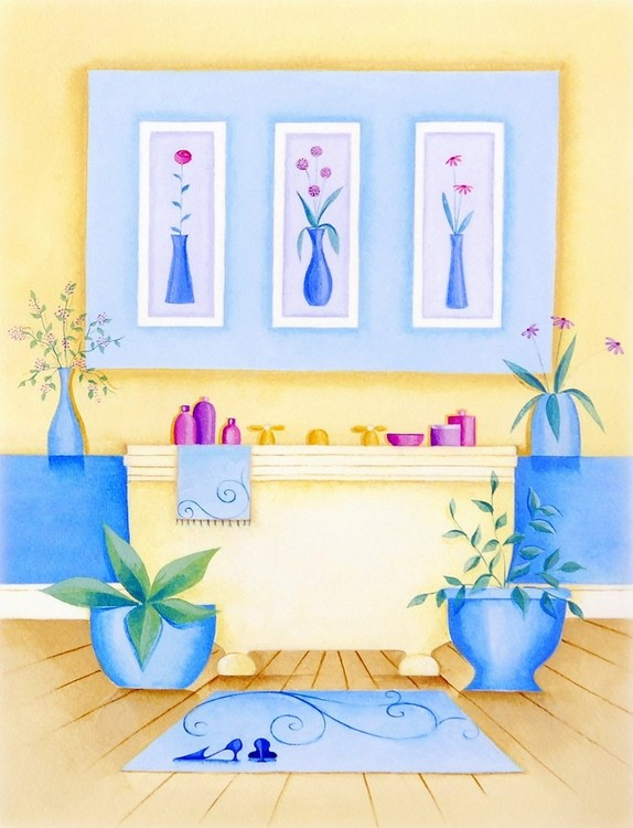 Cream Bathroom I Art Print