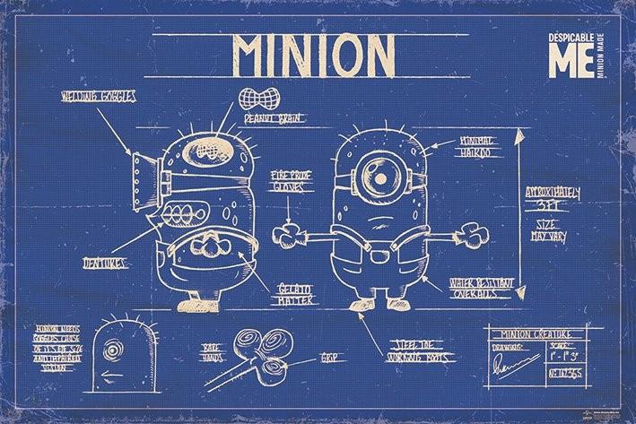 Deable Me Minion Blue Print Poster