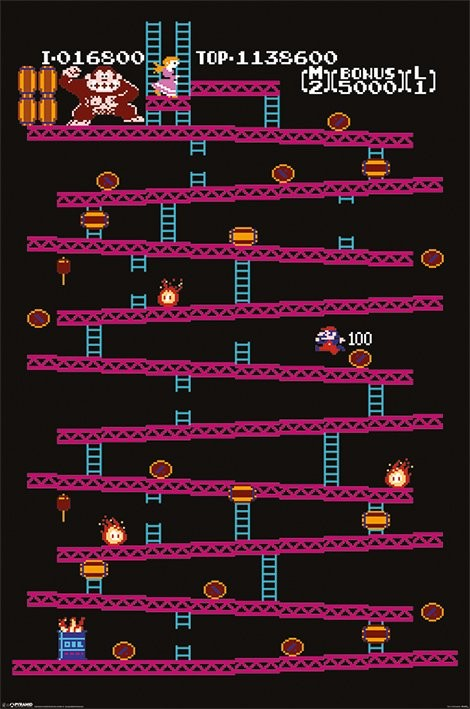 donkey kong nes poster sold at europosters. Black Bedroom Furniture Sets. Home Design Ideas
