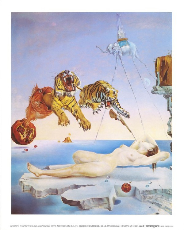 Dream Caused by the Flight of a Bee Around a Pomegranate a Second Before Awakening, 1944 Art Print