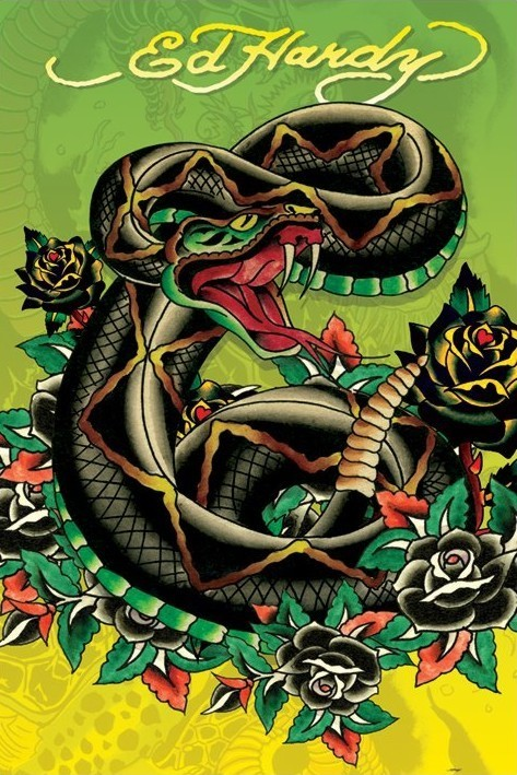 huge discount 88413 3f100 Ed Hardy - snake Poster | Sold at Abposters.com
