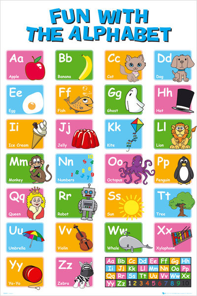Educational alphabet Poster, Art Print