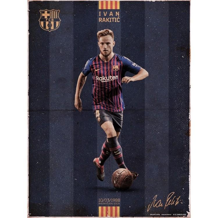 FC Barcelona - Rakitic Vintage Art Print