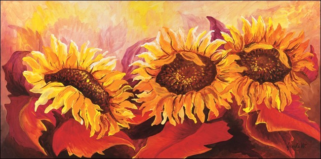 Fire Sunflowers Art Print