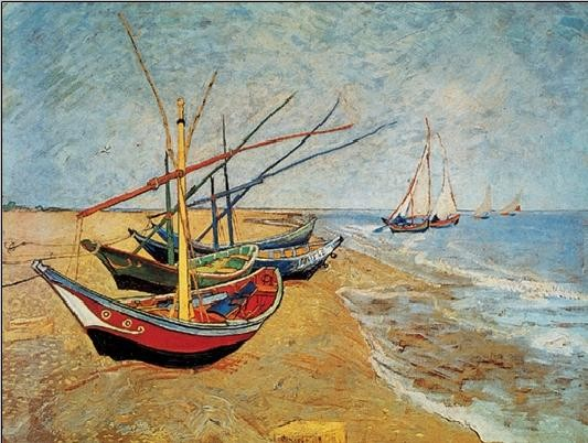Fishing Boats on the Beach at Saintes-Maries, 1888 Art Print