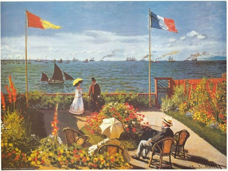 Garden at Sainte-Adresse, 1867 Art Print