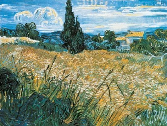 Green Wheat Field with Cypress, 1889 Art Print
