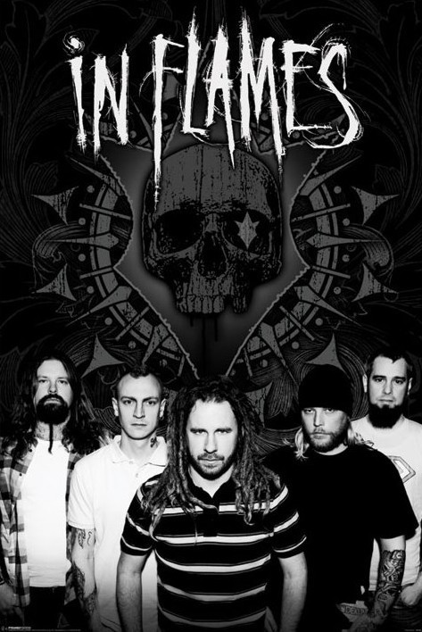 In Flames - b and w group Poster, Art Print