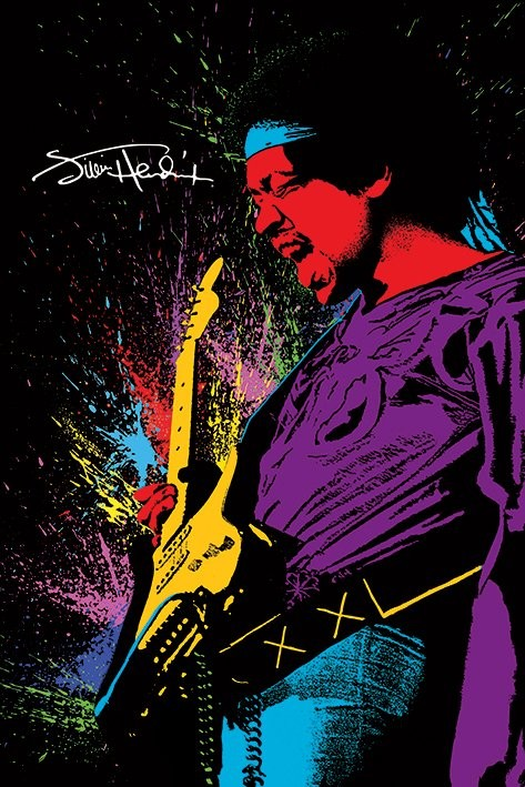 Jimi Hendrix - Paint Poster, Art Print