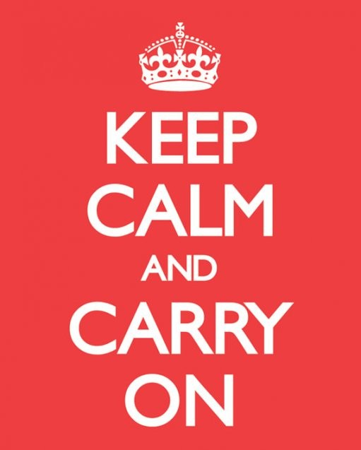 Keep calm & carry on - red Poster