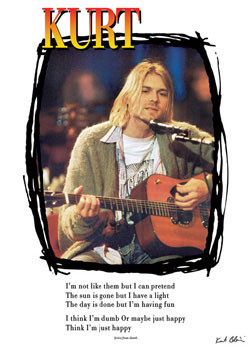 Kurt Cobain - lyrics / guitar Poster, Art Print