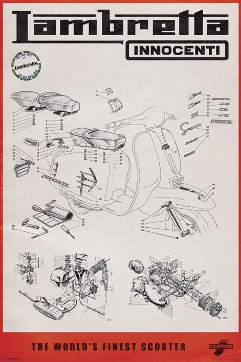 Line Art Posters : Lambretta line drawing poster sold at abposters