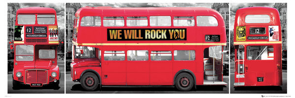 London - bus triptych Poster, Art Print