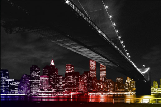 Manhattan night - colour Poster, Art Print