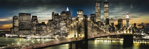 Manhattan - night & moon Poster, Art Print