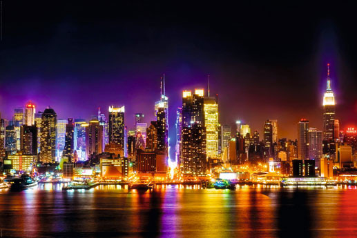 manhattan skyline reflection poster sold at ukposters. Black Bedroom Furniture Sets. Home Design Ideas