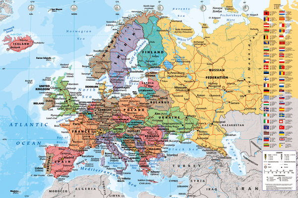 Map of Europe - Political Poster, Art Print