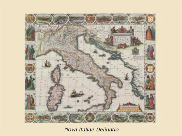 Map of Italy - vintage Art Print