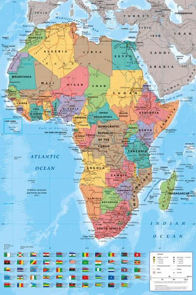 Pôster Mapa Político da África