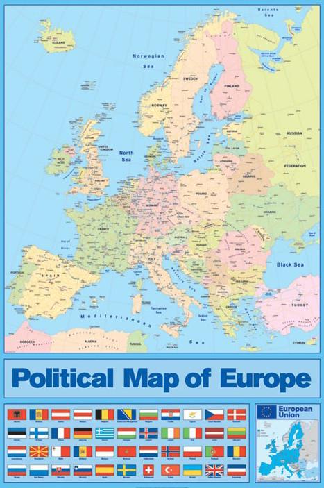 Poster Mapa Político da Europa