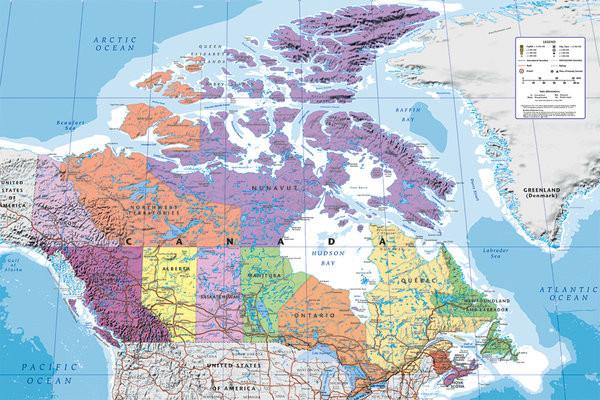 Poster Mapa Político do Canadá